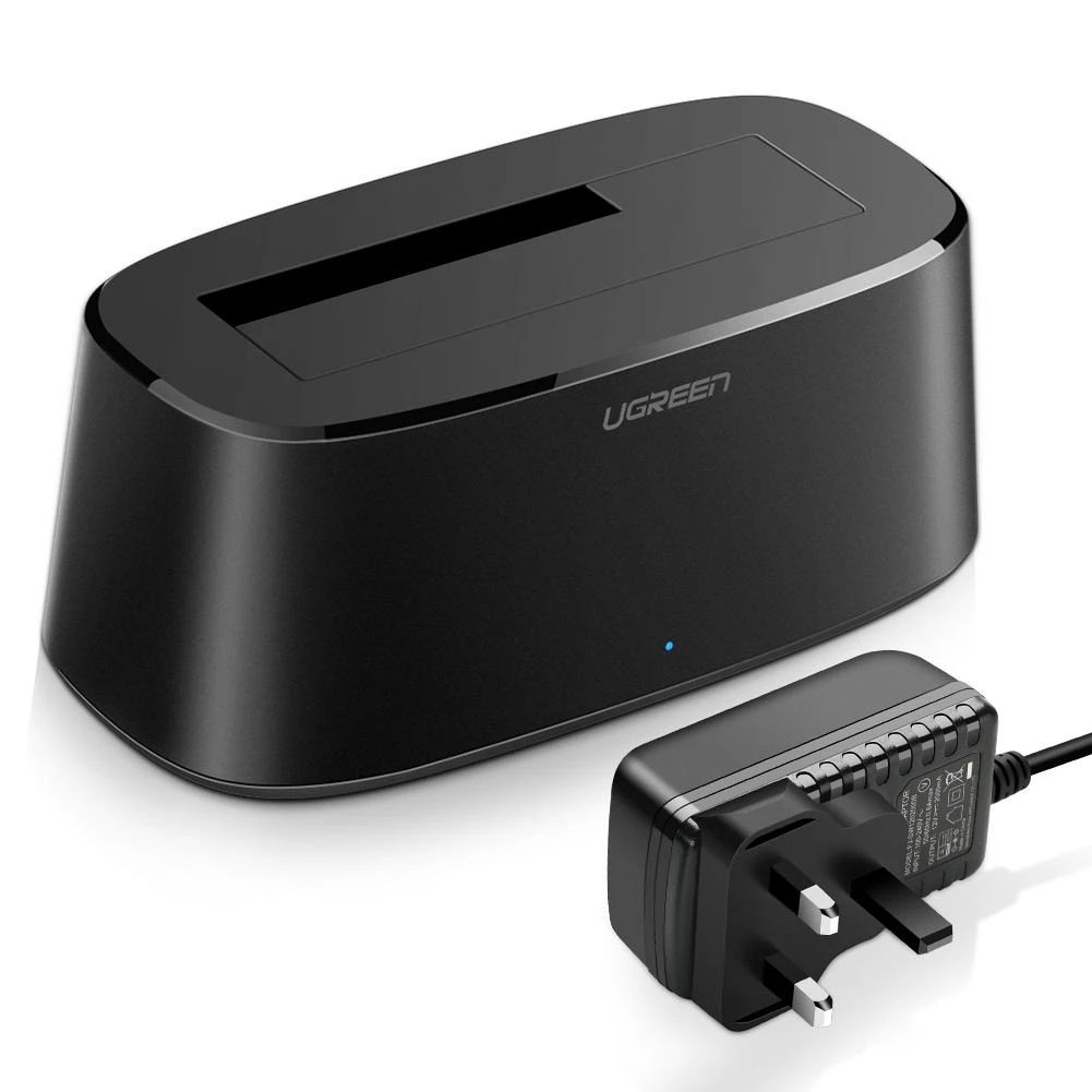 Đế đơn docking station cho ổ cứng USB 3.0 màu đen chân cắn nguồn chuẩn UK Ugreen 50847CM197 Hàng Chính Hãng