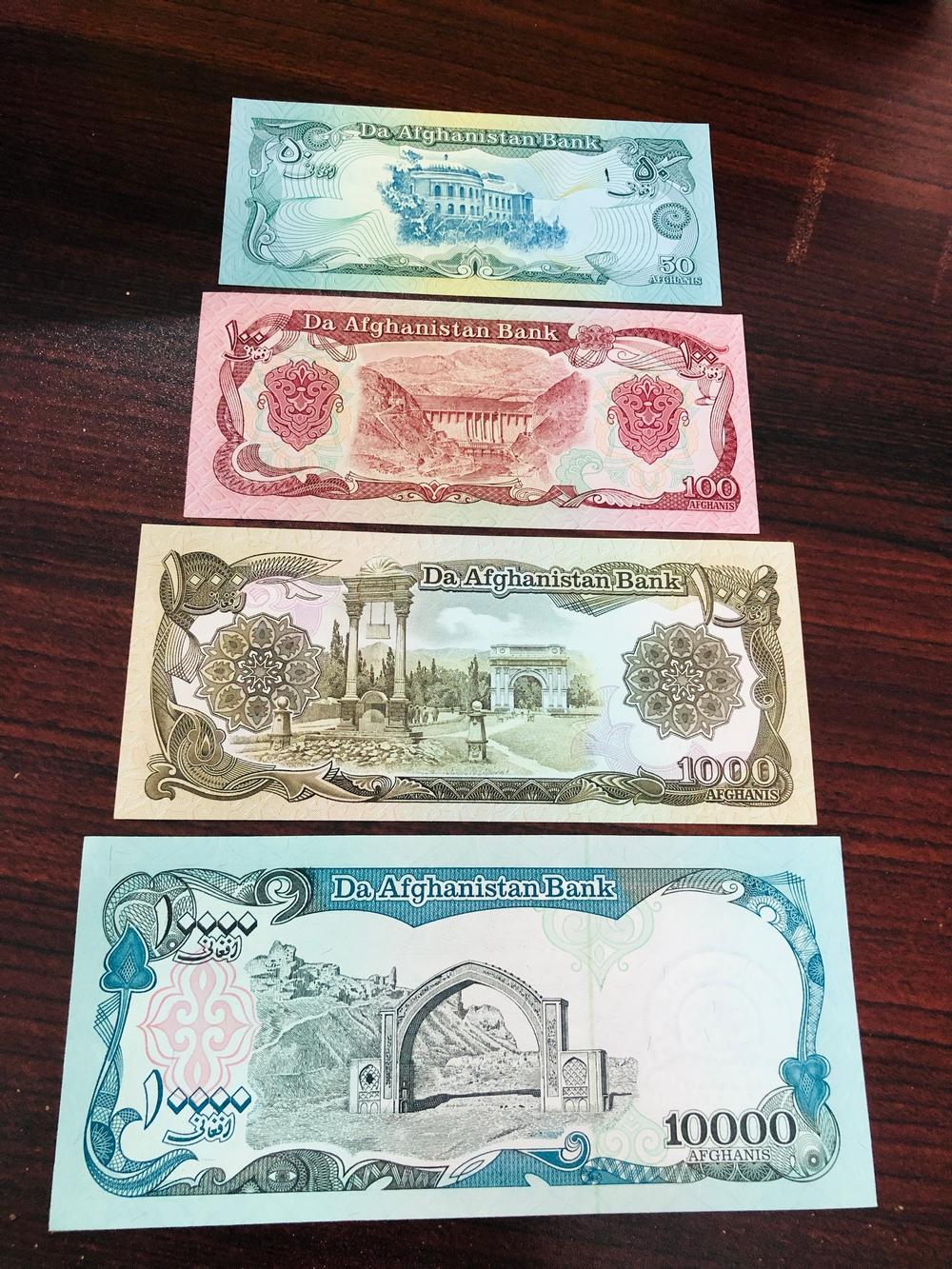 Bộ 4 tờ tiền giấy Afghanistan xưa, sưu tầm tiền cổ đất nước trung á