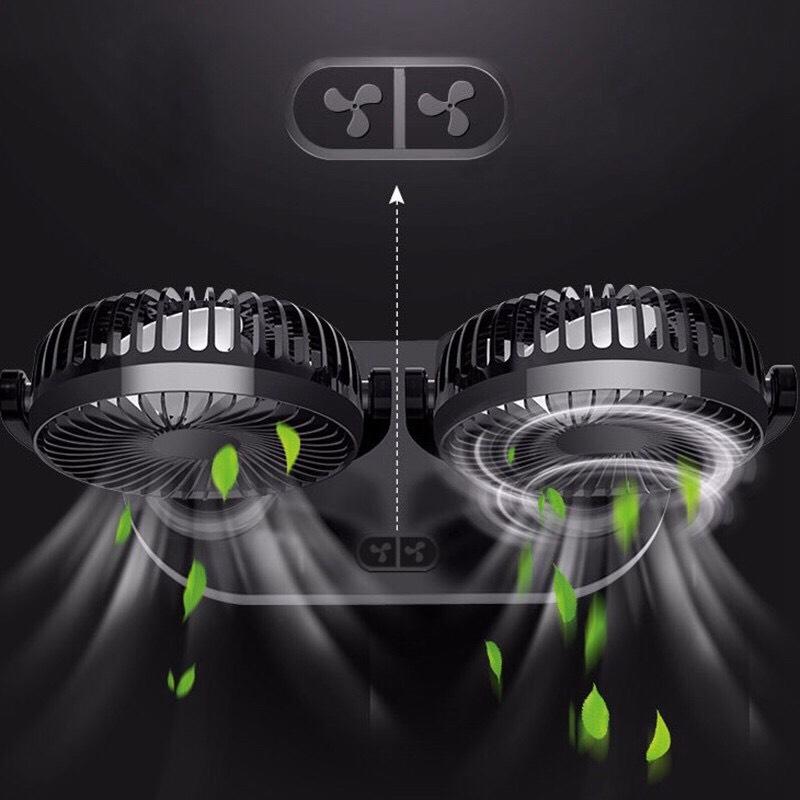 Quạt Đôi Mini Công Suất Lớn, Bền Bỉ, Quay 360 Độ - Dùng nguồn USB Tích Hợp Dùng Trên Xe Ô Tô, Bàn Làm Việc Có 3 Cấp Độ Gió - Tặng Chai Tinh Dầu Thiên Nhiên 10ml