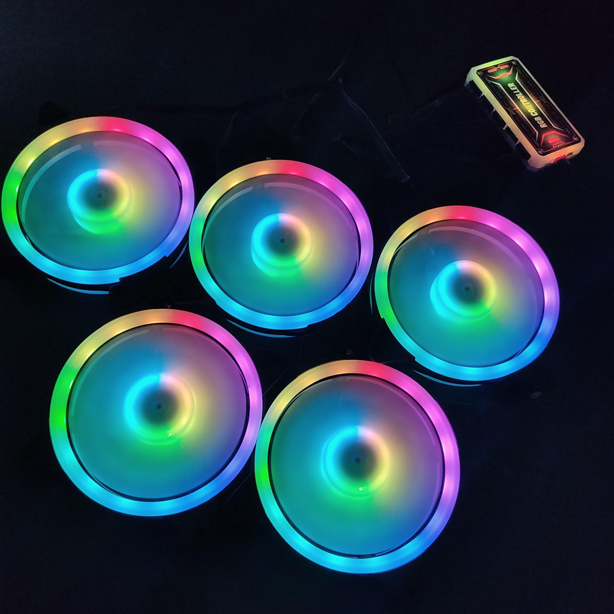 5 Quạt Tản Nhiệt, Fan Case KNC V4 Led RGB đồng bộ màu hệ thống, kèm bộ Hub khiển màu từ xa