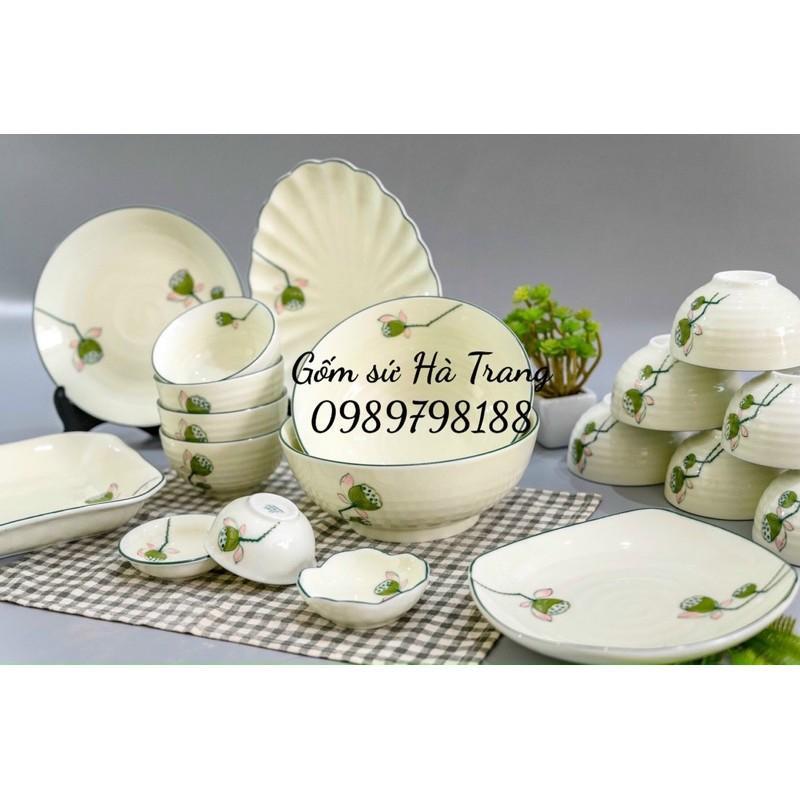 bộ bát đĩa bộ đồ ăn gốm sứ Bát Tràng cao cấp men kem hoạ tiết sen set HD001
