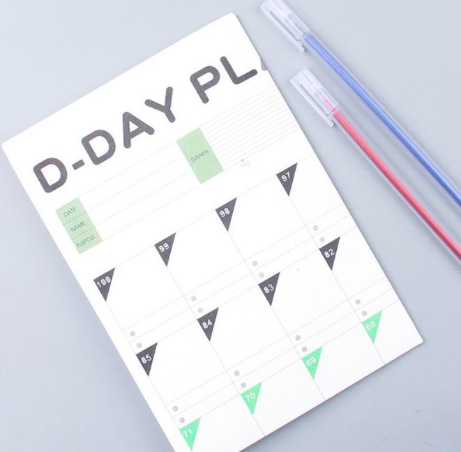 Bảng Kế Hoạch Khổ  Lớn Lịch Học Tập  100 Ngày 100 Bonee D-Day Plan