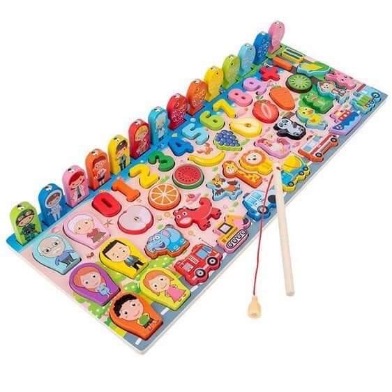 Đồ chơi bảng câu cá - xếp hình trái cây con vật đa năng bằng gỗ loại tốt - BK0215