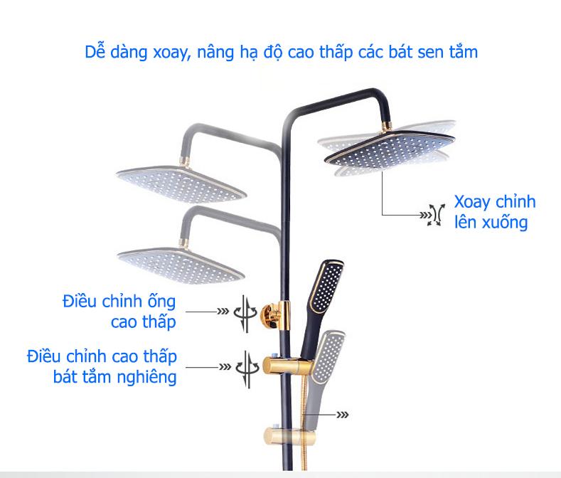 Bộ sen cây tắm đứng, bộ sen vòi tắm nóng lạnh TCARE 360 - Hàng chính hãng