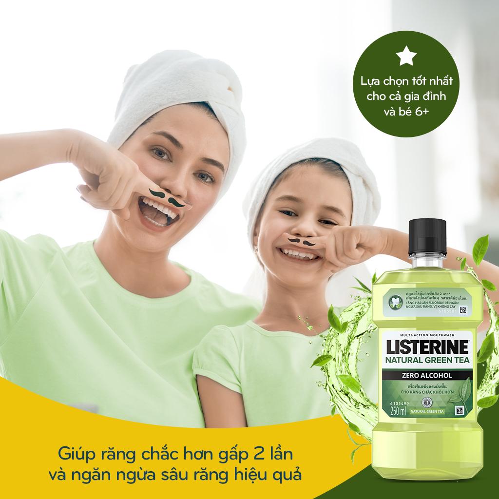 (Gift) Nước súc miệng ngừa sâu răng Listerine natural green tea 250ml 210076354