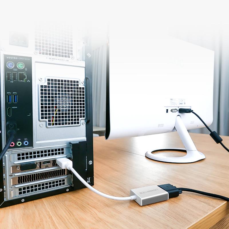 Dây chuyển đổi DisplayPort sang VGA+Audio converter dài 25cm UGREEN DP106 20412 - Hàng Chính Hãng