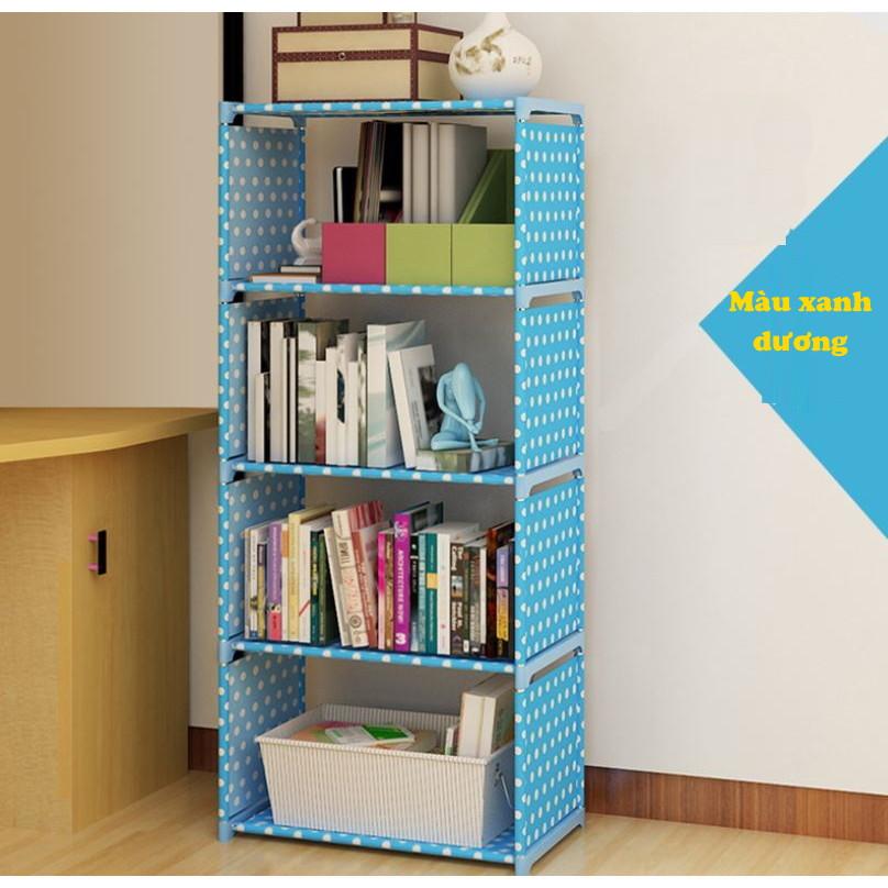 Tủ Vải Đựng Sách, Kệ Sách 4 Tầng Lắp Ghép, Tủ Vải Khung Sắt Đựng Đồ Đa Năng Tiện Lợi Chính Hãng Amalife
