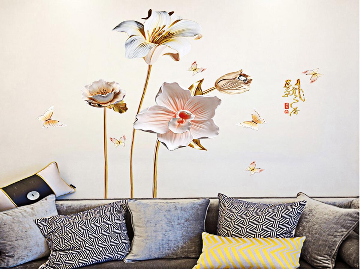 Decal dán tường hoa ly đá trắng sk9288