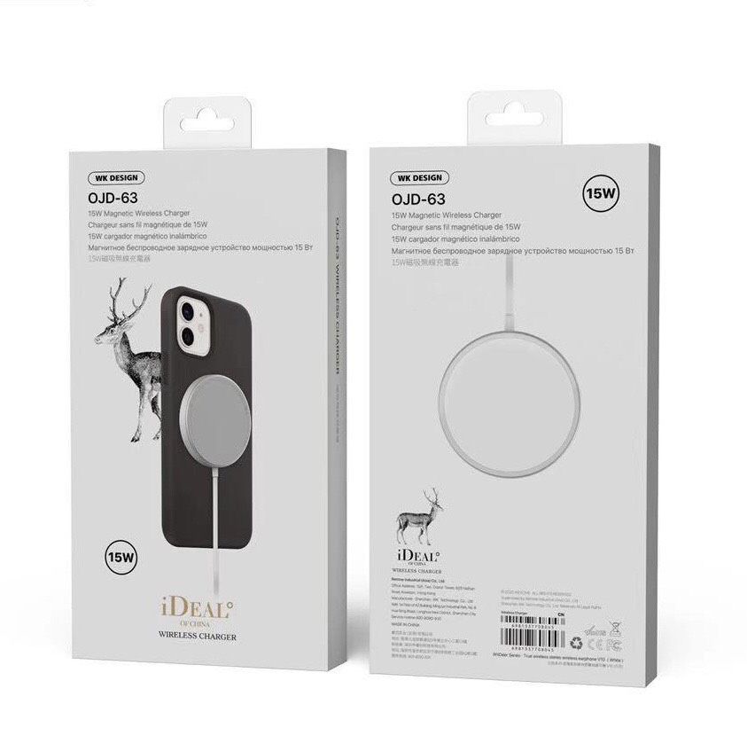Sạc Không Dây MagSafe WK DESIGN 15W Dành Cho iPhone 12/12Pro/12Pro Max - Hàng Chính Hãng