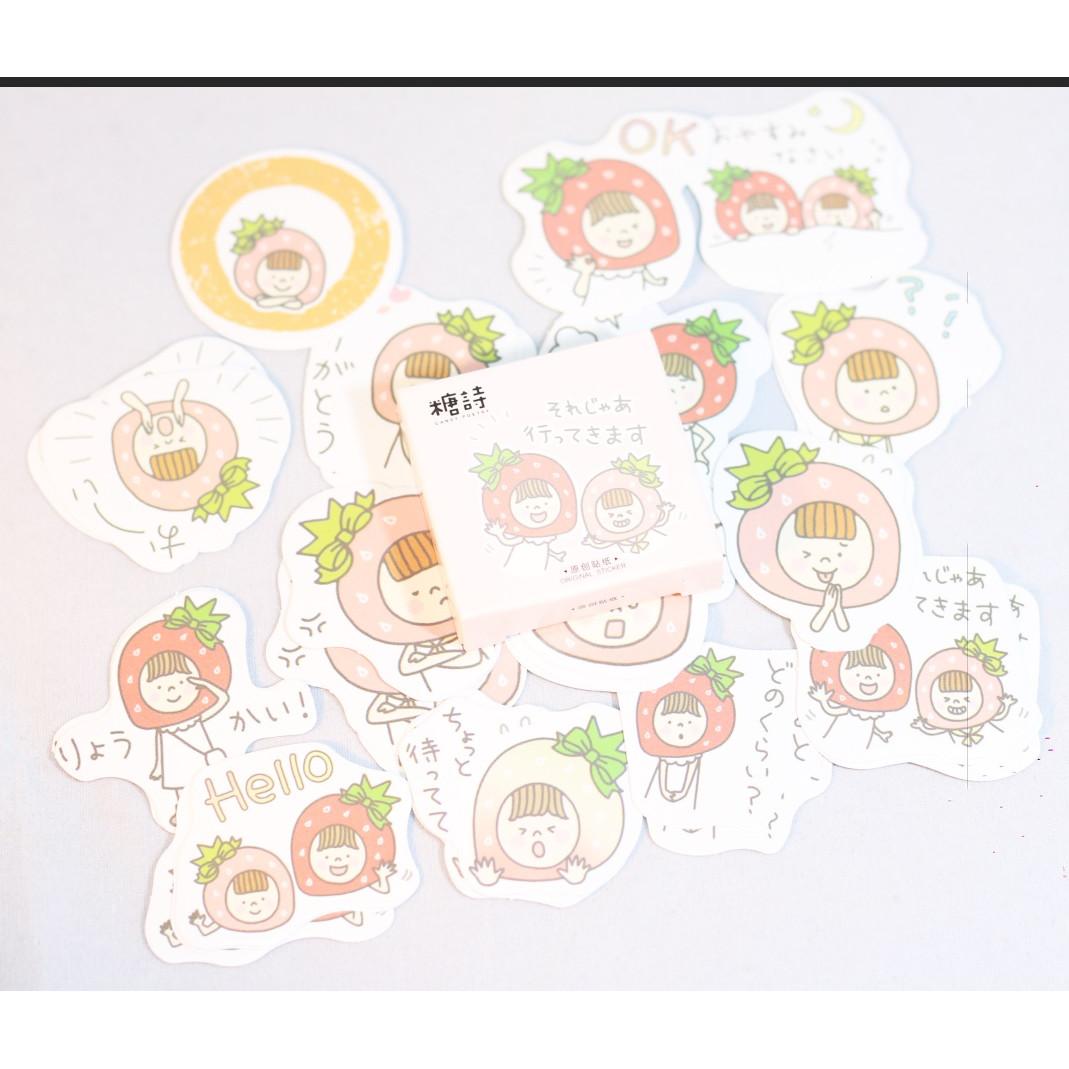 Hộp 45 Miếng Dán Sticker Trang Trí Cô Bé Quả Dâu