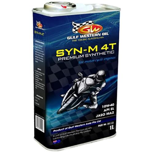 Nhớt động cơ đốt trong Gulf Western Oil 4T SYN-M 4T PREMIUM SYNTHETIC 10W-40 API SL JASO MA2 1 Lít - Chuyên dùng  cho Xe số - Xe côn tay
