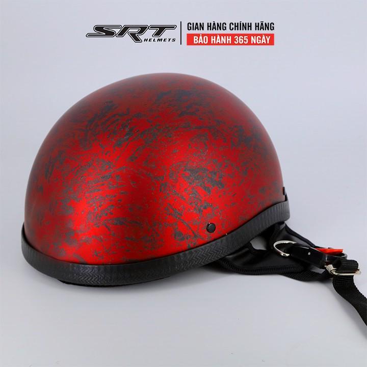 Mũ Bảo Hiểm Nửa Đầu - 1/2 SRT - Đỏ Đô Xước
