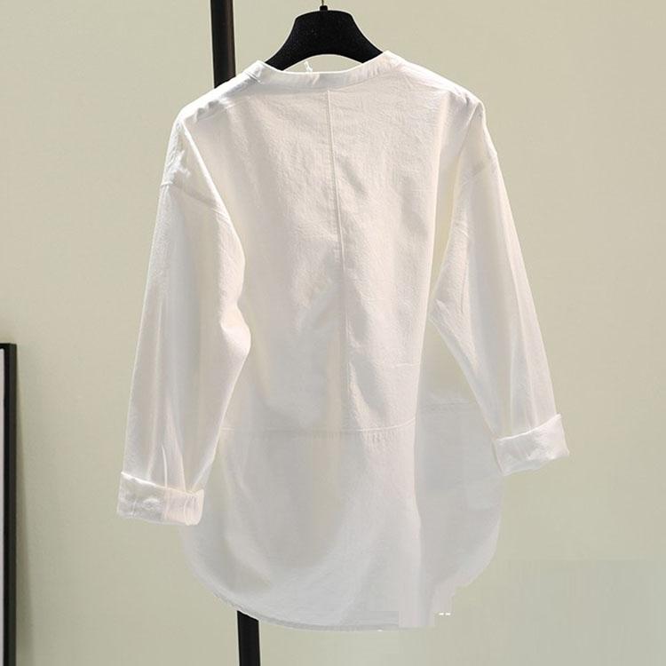 Áo sơ mi nữ form rộng cổ tầu chất thô đũi LAHstore, thời trang phong cách trẻ