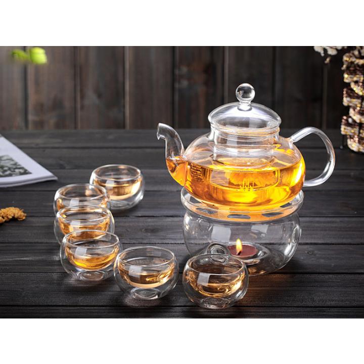 Bộ ấm chén pha trà thủy tinh có lõi lọc - Hàng chính hãng