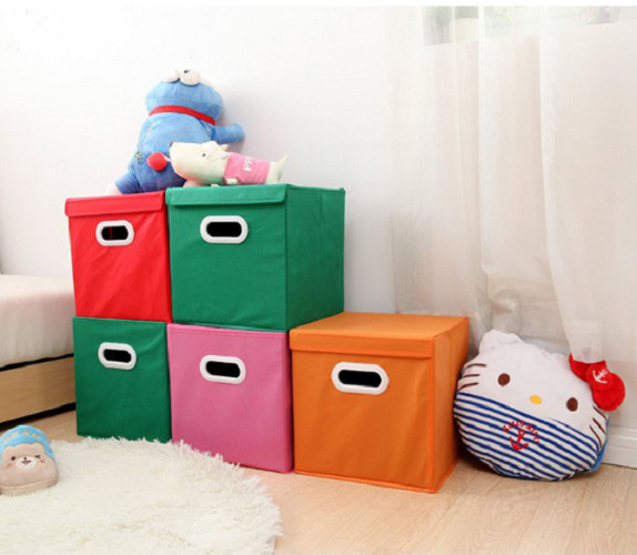 Bộ 2 hộp vải đựng đồ đa năng có nắp đậy, phối 2 màu khác nhau, đựng quần áo, giày, sách, đồ chơi cho bé, có thể xếp chồng, tiết kiệm diện tích, giao màu ngẫu nhiên