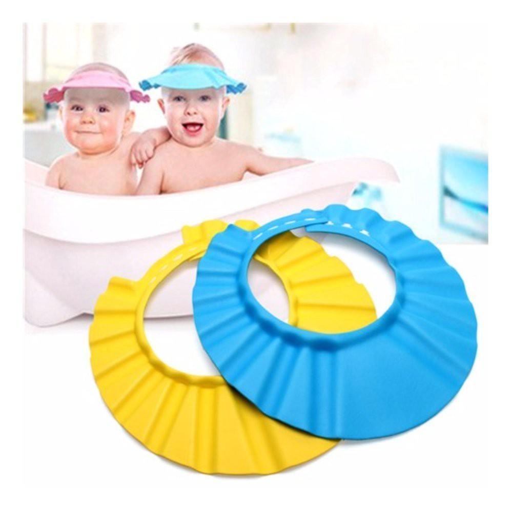 Mũ tắm chắn nước cài cúc cho bé có màng che tai