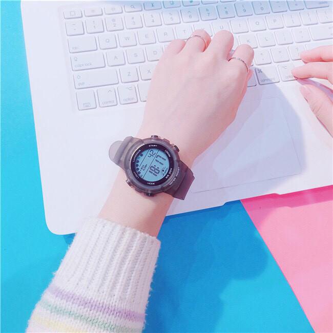 Đồng hồ thể thao thời trang nam nữ Sh1, mặt tròn dây silicon, hiển thị ngày giờ, có báo thức và đèn ban đêm