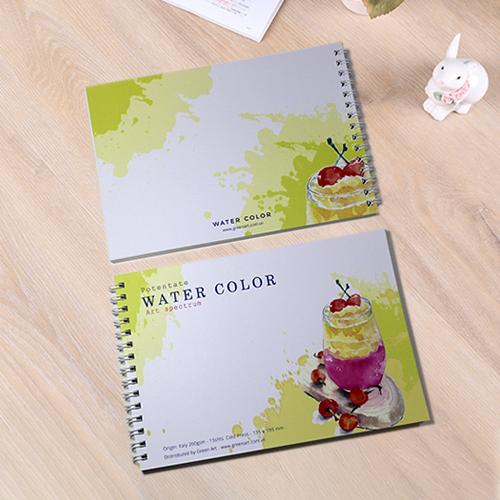 Giấy vẽ màu nước 260gsm dạng sổ vẽ A5L đẹp - giấy dày có vân 2 mặt, lên màu đẹp giữ được độ trong màu nước