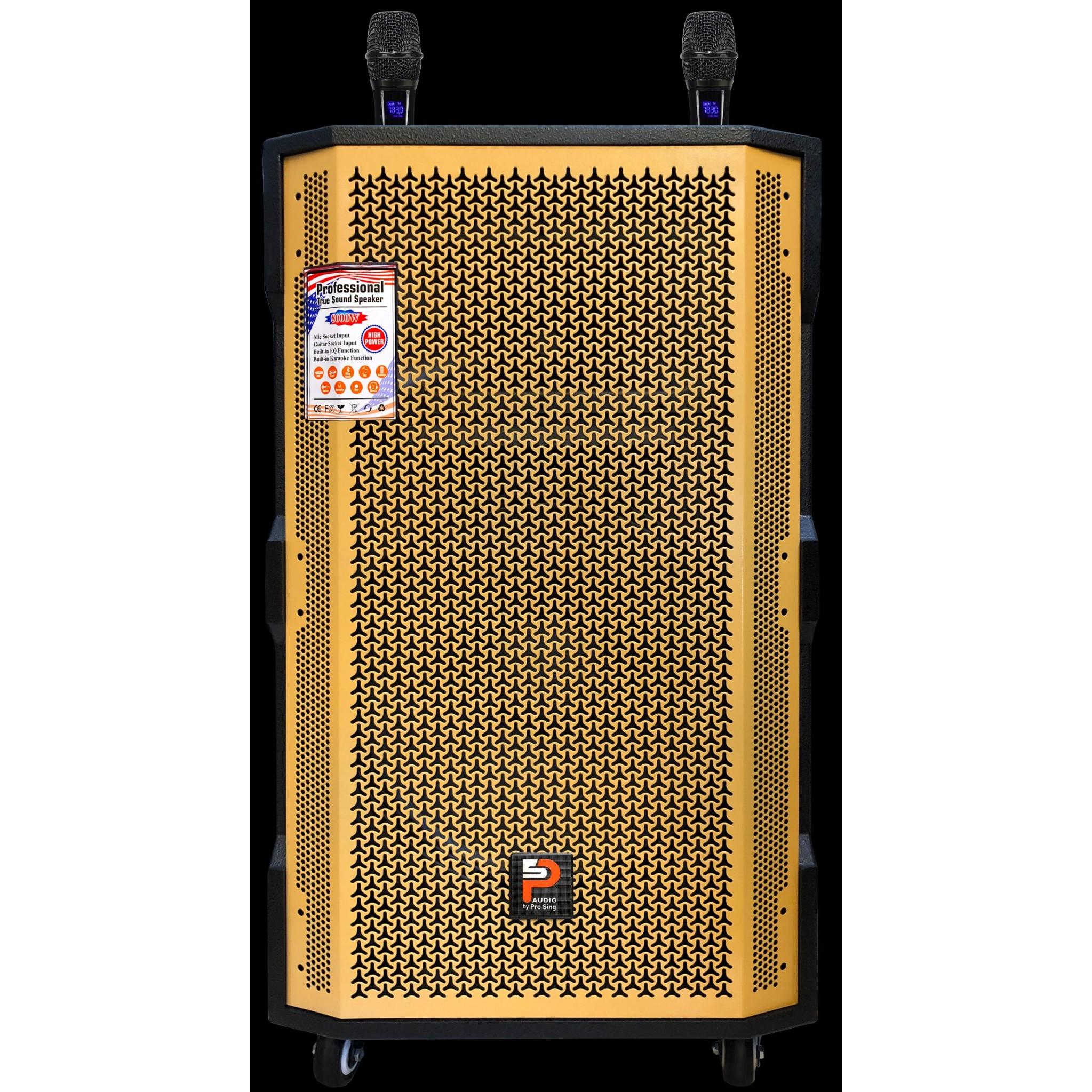 Loa Karaoke di động Bluetooth Prosing W-15 Super Vàng-Đen tặng kèm 2Mic hợp kim - Hàng chính hãng