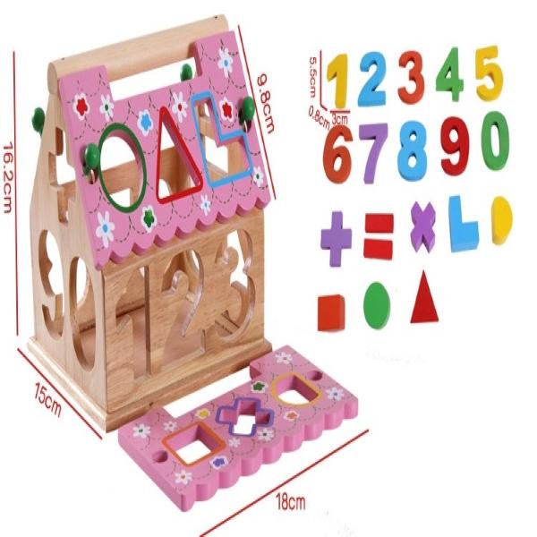 Đồ chơi nhà thả khối bằng gỗ