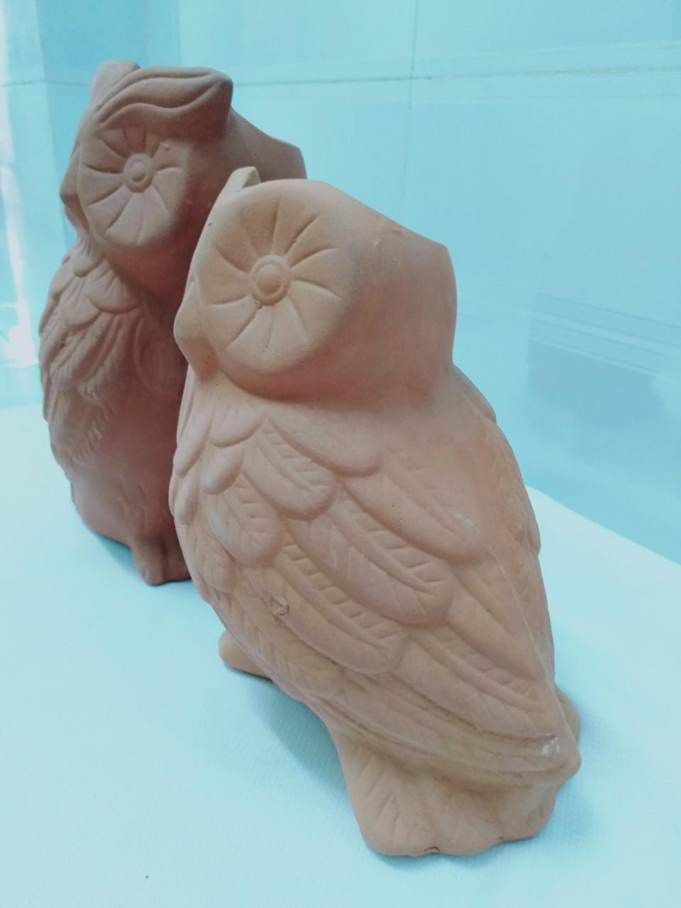 Chậu đất nung hình cặp cú ( con trống, mái) màu cam đẹp