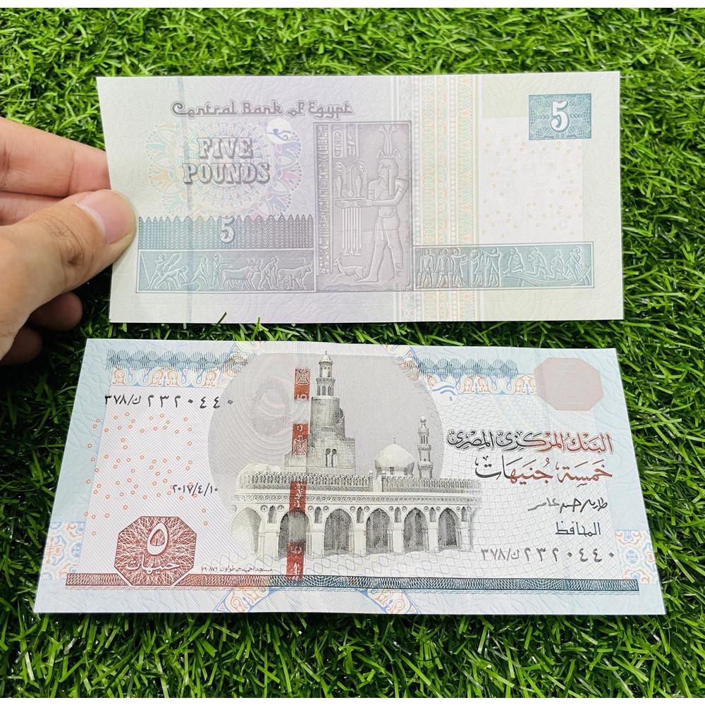 Tiền Ai Cập 5 Pound, hình tượng cổ Ai Cập, mới 100% UNC, tặng túi nilon bảo quản