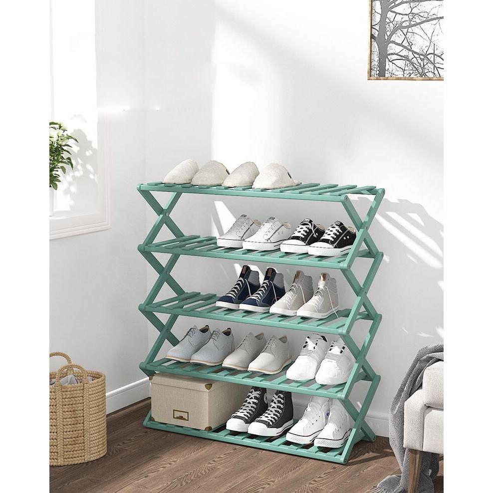 Kệ giày dép nhiều tầng gỗ tre, giá giày gấp xếp gọn nhẹ, không cần lắp ráp để giày ,dép vật dụng, cây cảnh cho người lớn sang trọng cho gia đình, nhà trọ, chung cư, kí túc xá