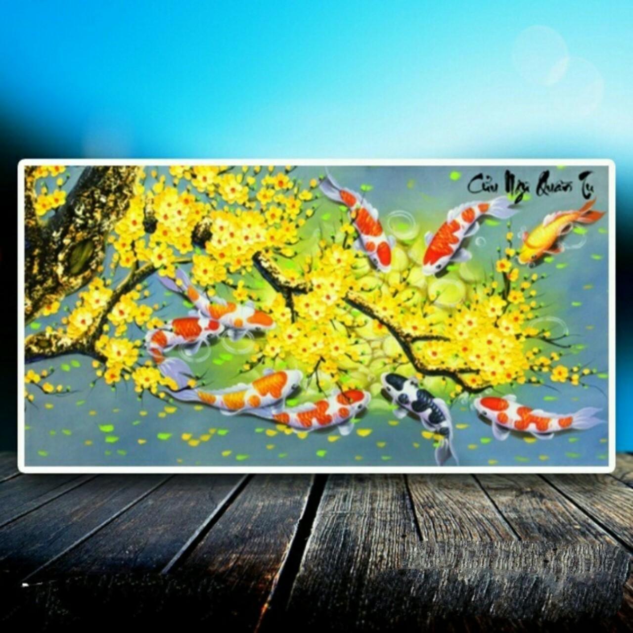 tranh đính đá Cửu ngư quần hội 99x55cm - chưa đính