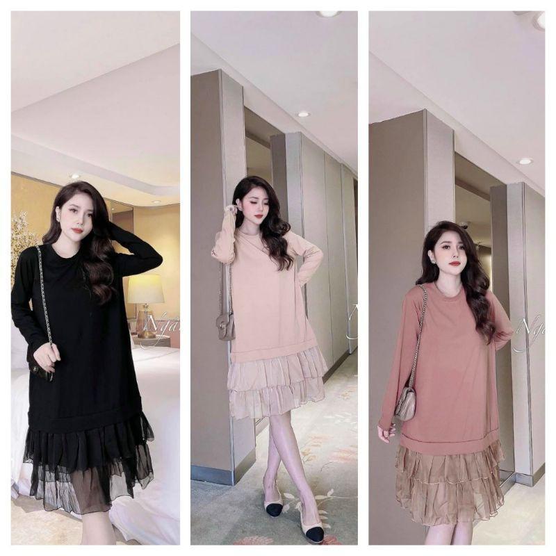 Váy Bầu  CHẤT COTTON ️ Đầm Bầu Váy Bầu Đẹp COTTON CHÂN VÁY PHA TƠ MỀM MỊN