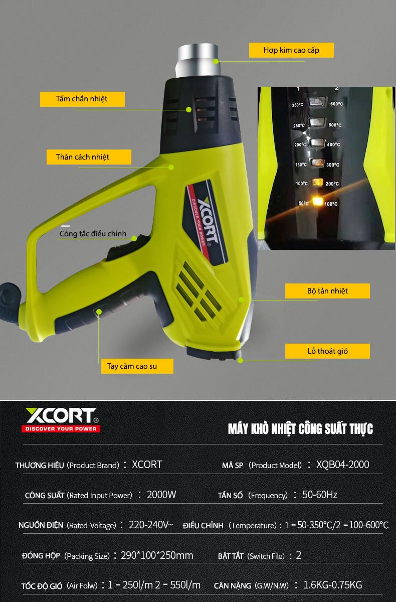 Máy khò màng co,Máy khò nhiệt cầm tay 2000W XCORT HỘP NHỰA