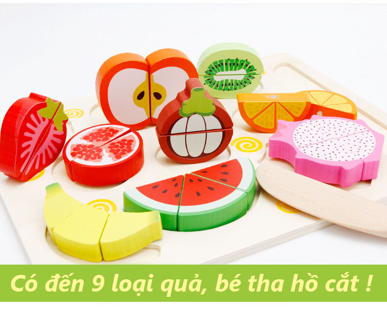 Đồ chơi cắt trái cây bằng gỗ cho bé