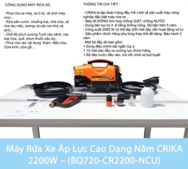 Máy rửa xe đa năng áp lực cao Crika 2200w Lõi Đồng