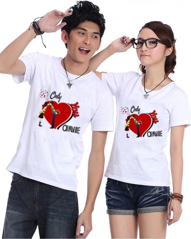 Bộ Áo Thun Đôi Nam Nữ Only love Onnie Màu Trắng - XXL - XXL