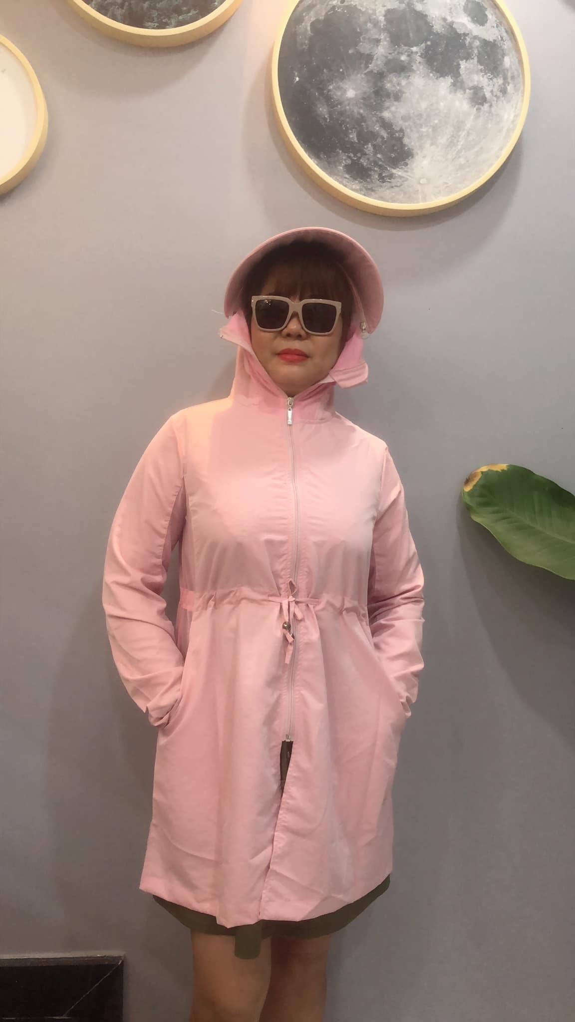 Áo chống nắng dáng dài màu hồng