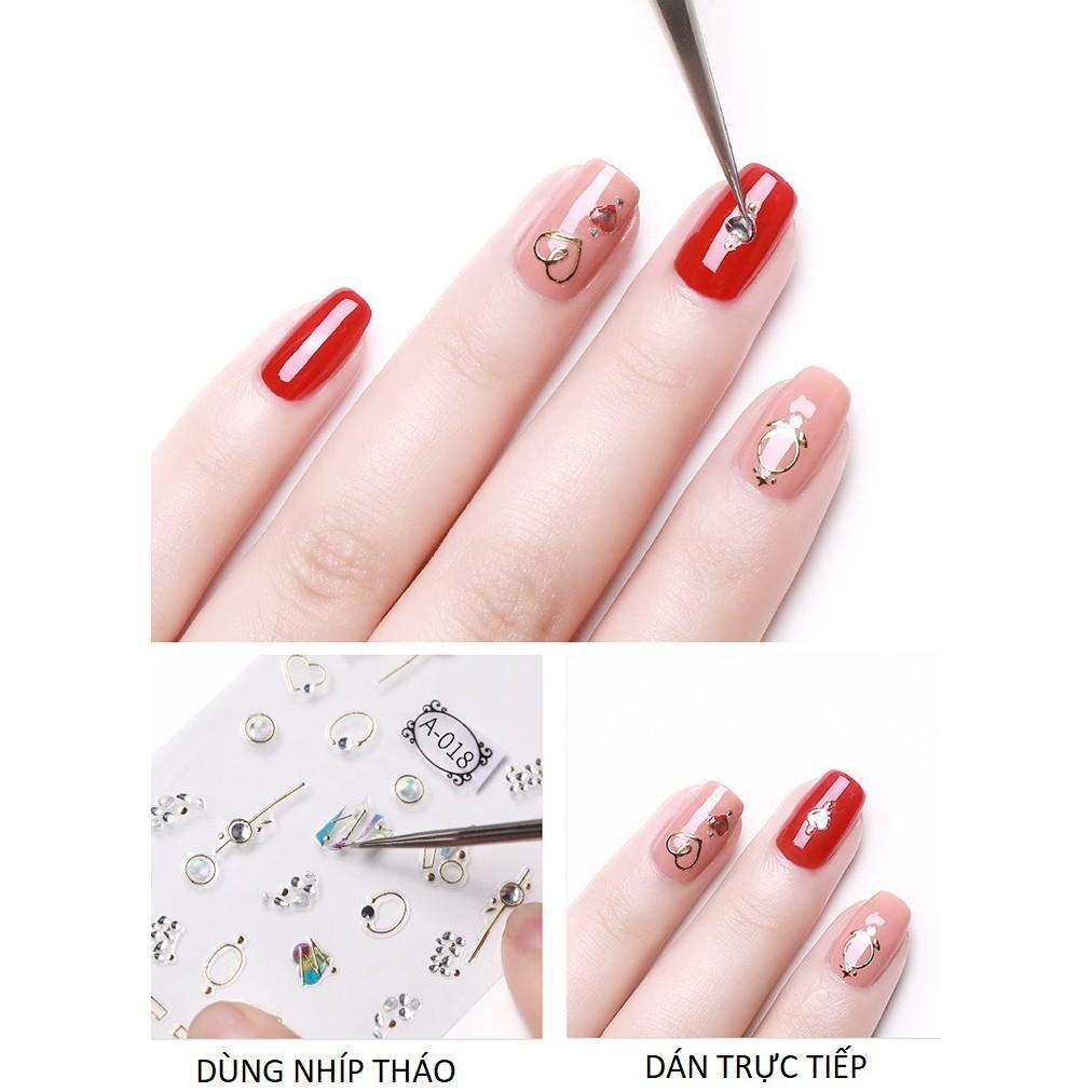 Sticker nails lá xanh - hình dán móng 3D