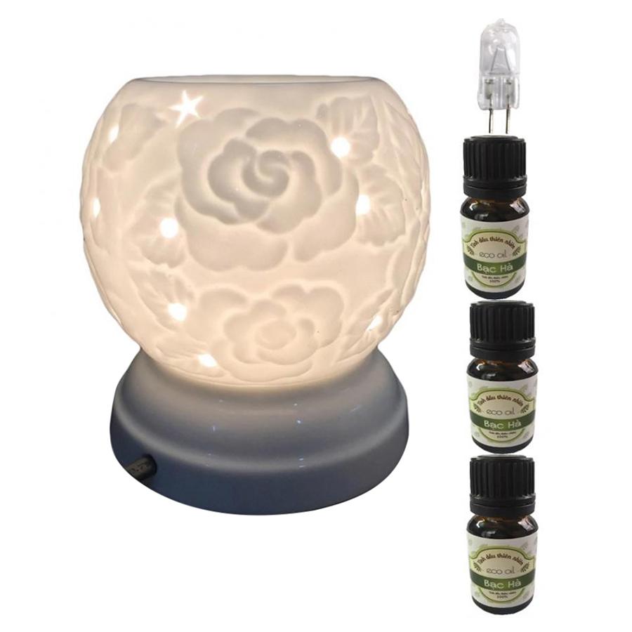 Bộ Đèn xông tinh dầu MNB22 và 3 tinh dầu bạc hà Eco 10ml và 1 bóng đèn