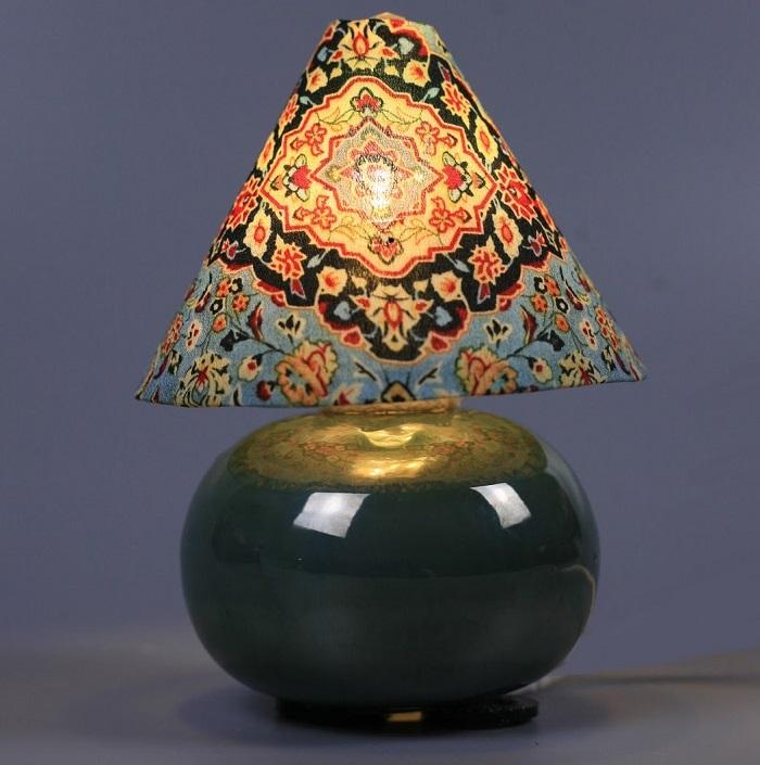 Đèn thổ cẩm Gốm Sứ Bát Tràng trang trí nội thất, đèn để bàn phòng ngủ hàng chính hãng.