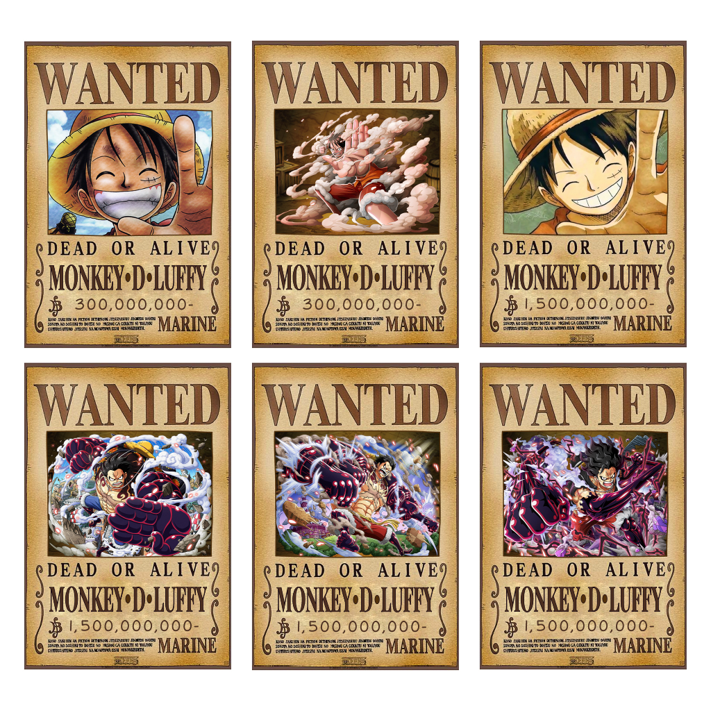 Poster truy nã Luffy (6 dạng) - One Piece