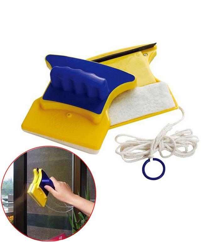 Dụng Cụ Lau Cửa Kính 2 Mặt Hút Nam Châm tặng kèm 1 khăn lau mềm mịn
