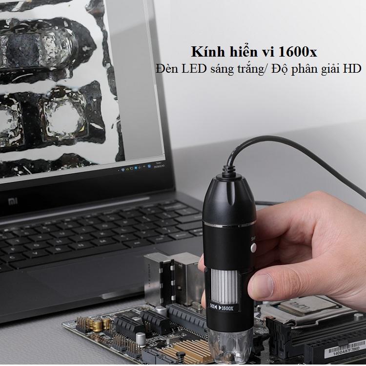 Kính hiển vi để bàn phóng đại 1600X cắm cổng USB có đèn led trợ sáng ( Tặng kèm 01 móc khóa tua vít ba chức năng )
