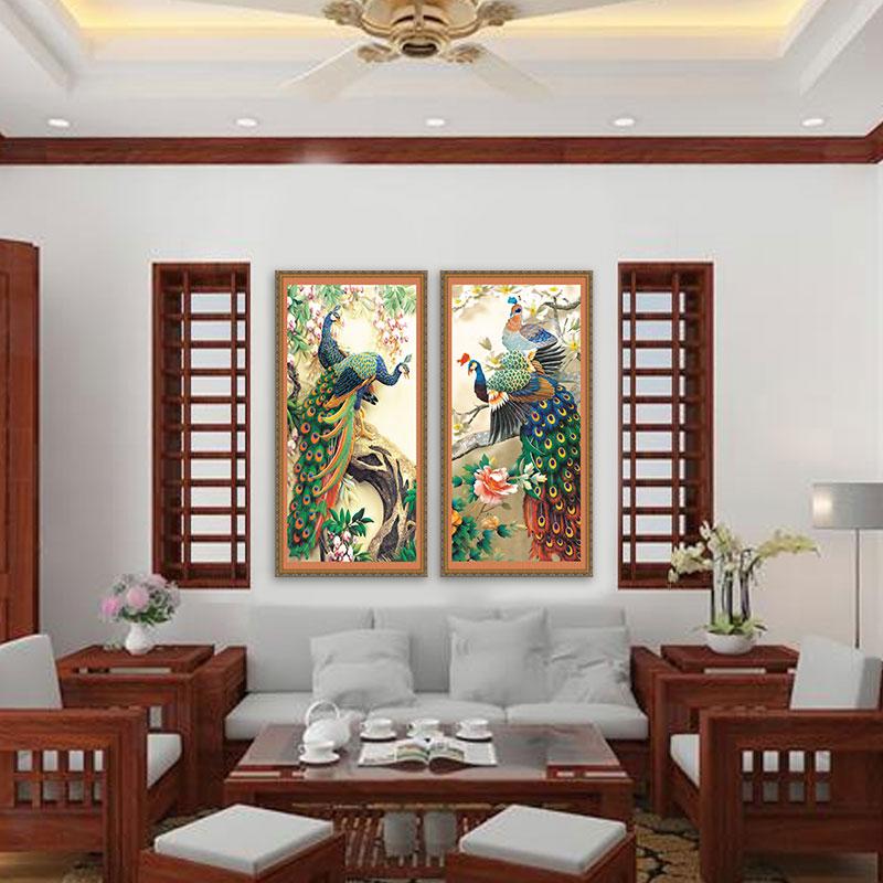 Bộ 2 tranh Phong thủy Chim Công Phú Quý | Tranh chim công đẹp – W1558
