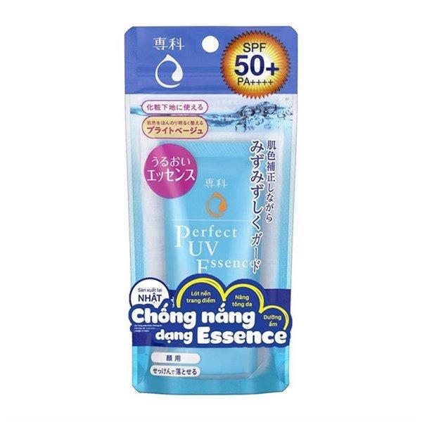 Kem chống nắng nâng tông Senka Perfect UV Essence tặng mặt nạ giấy nén Miniso