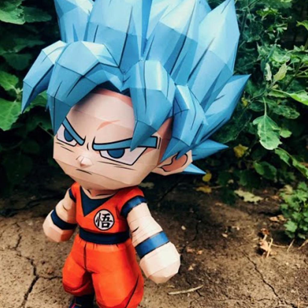 Mô hình giấy Anime Game Dragon Ball Chibi Goku SSJ Blue