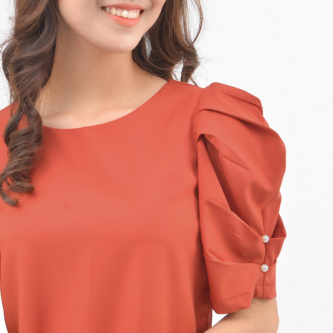 Áo kiểu nữ thời trang Eden dáng suông tay phồng đính hạt. Kiểu dáng thời trang, nữ tính. Chất liệu mềm mại, không nhăn - ASM134