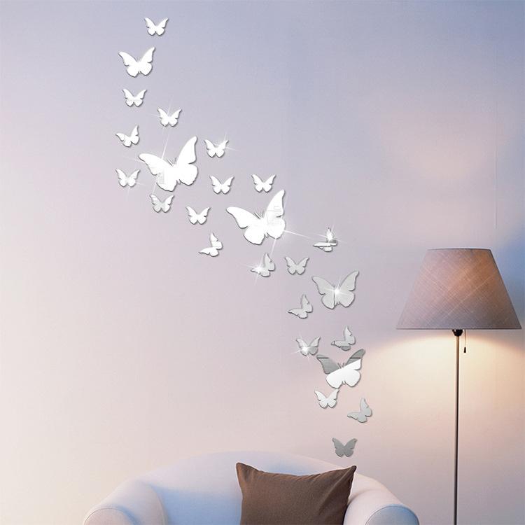 12 miếng decal dán tường trang trí 3D sáng tạo cao cấp (M4) hình bướm