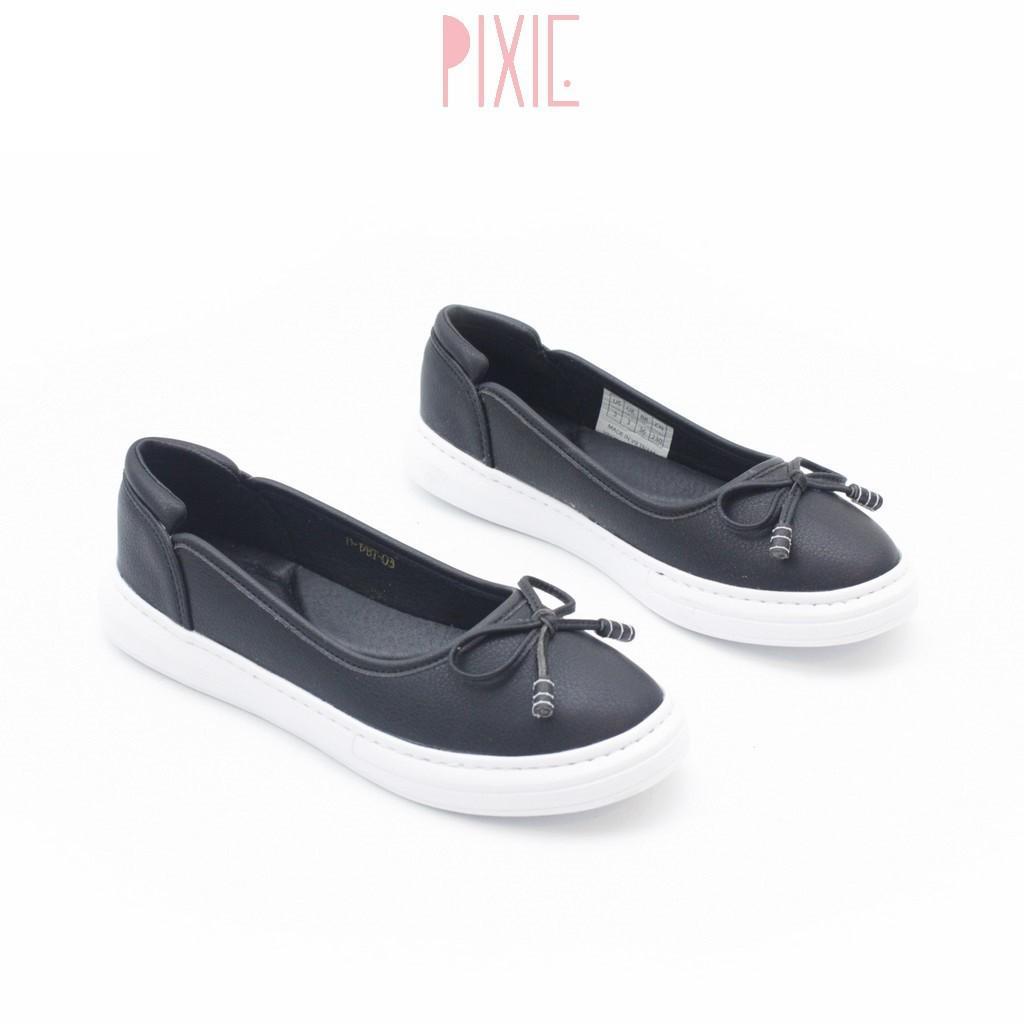 Giày Búp Bê Đế Slipon Trắng Siêu Nhẹ Nơ Nhỏ Pixie X385