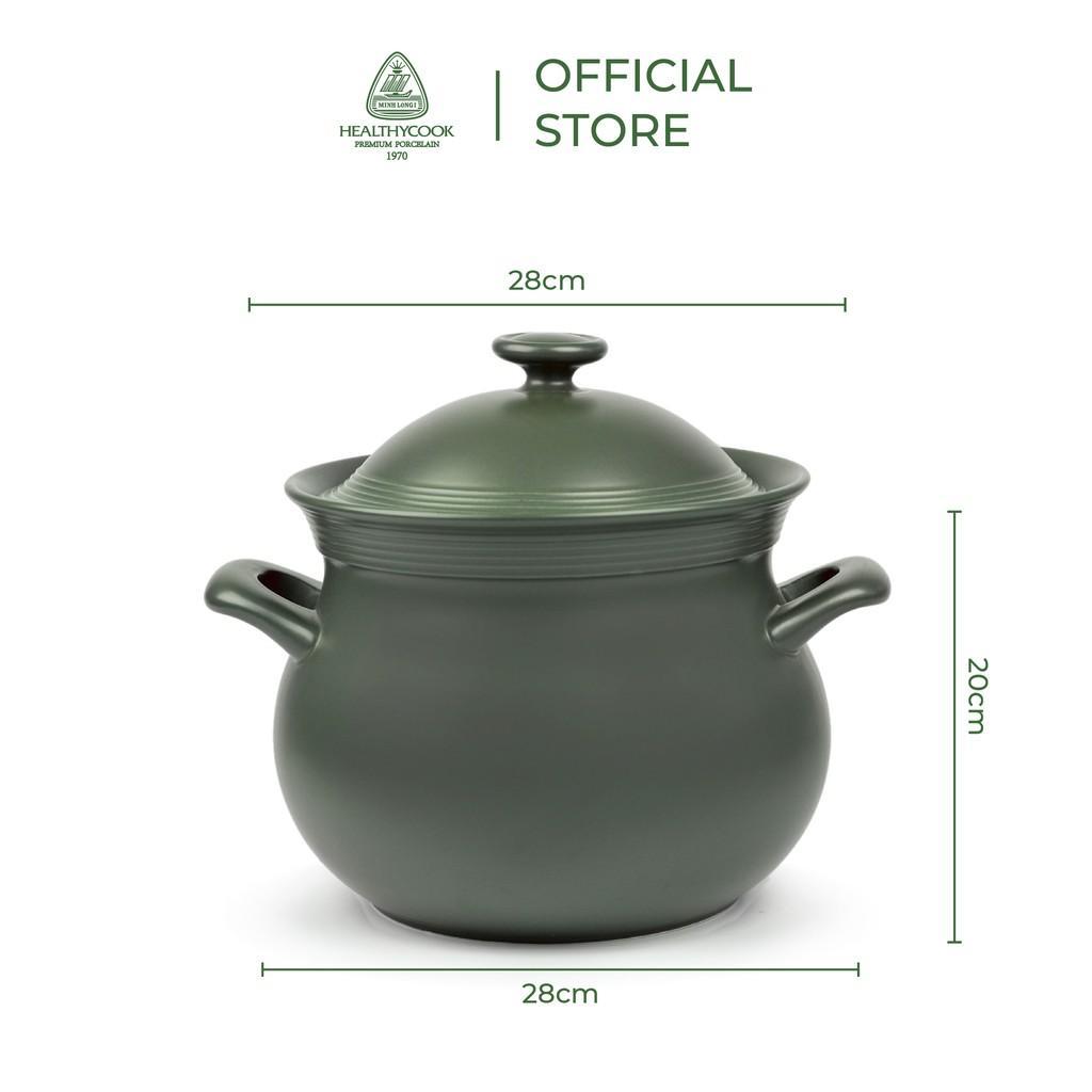 Nồi sứ dưỡng sinh Minh Long - Hathor 5.5 L + nắp dùng cho bếp từ