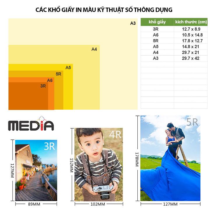 Giấy In Màu Kỹ Thuật Số MEDIA 1 Mặt Bóng (Glossy) Khổ A4 (210 x 297mm) Định Lượng 115/135gsm 100 Tờ, Dùng In Ảnh Màu & Tài Liệu Màu - Hàng Chính Hãng