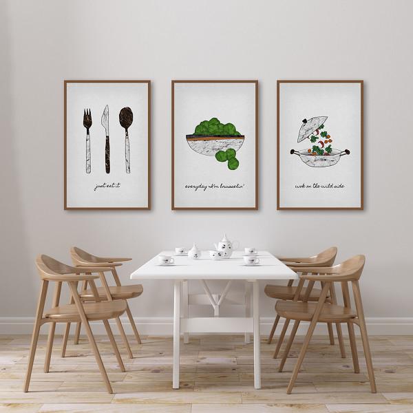 Bộ 3 Tranh Canvas Nghệ Thuật Nhà Bếp