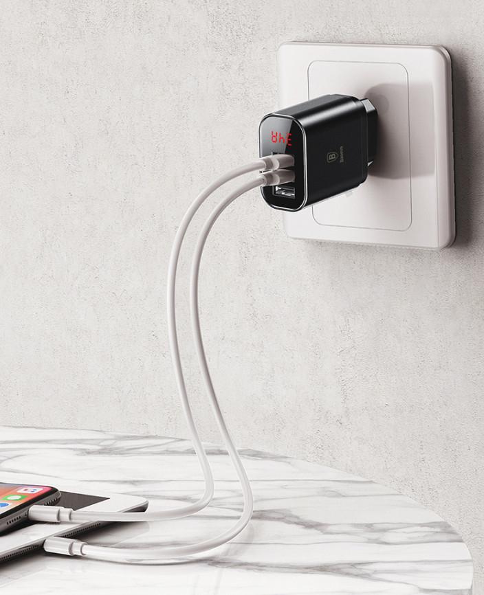 Củ sạc nhanh 3 cổng USB cao cấp Baseus (CCALL-BH01) - Hàng Nhập Khẩu